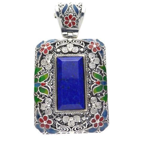 Natural Lapis Lazuli Pendant 925 Sterling Silver | Magnificent Enamel | Inner Truth Meditation Connection | Sagittarius Libra Star Stone |Crystal Heart Australia since 1986