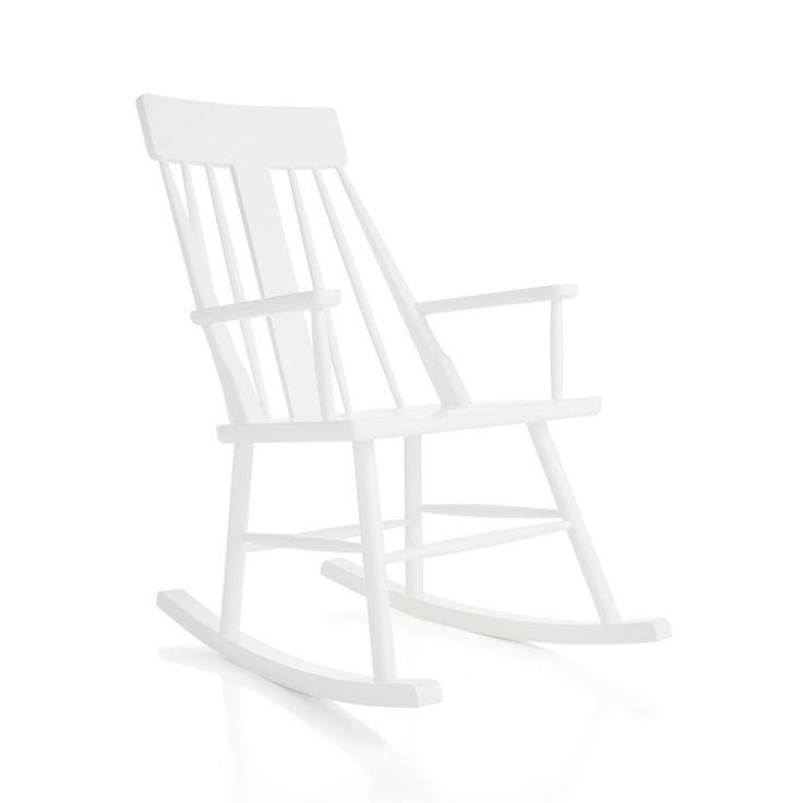 Brighton Mid-Century White Rocking Chair | The Land of Nod