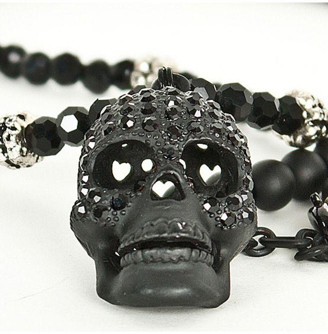 Rebelsmarket super unique cubic black skull pendant beads necklace necklaces 8