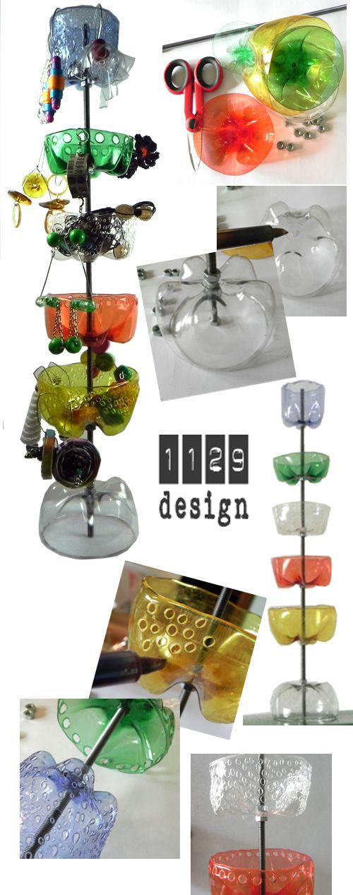 tutorial portagioielli plastica pet riciclata da bottiglie  DIY soda bottle jewelry stand
