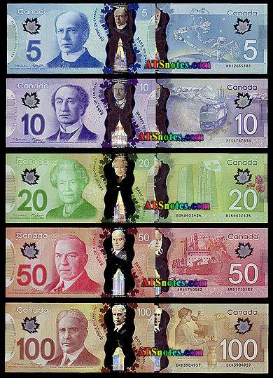 Nuevo polímero (plástico) dinero billetes de Canadá - catálogo de papel moneda de Canadá y la historia de la moneda canadiense