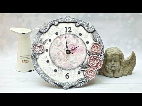 (764) Decoupage - zegar z różami - tutorial  DIY - YouTube