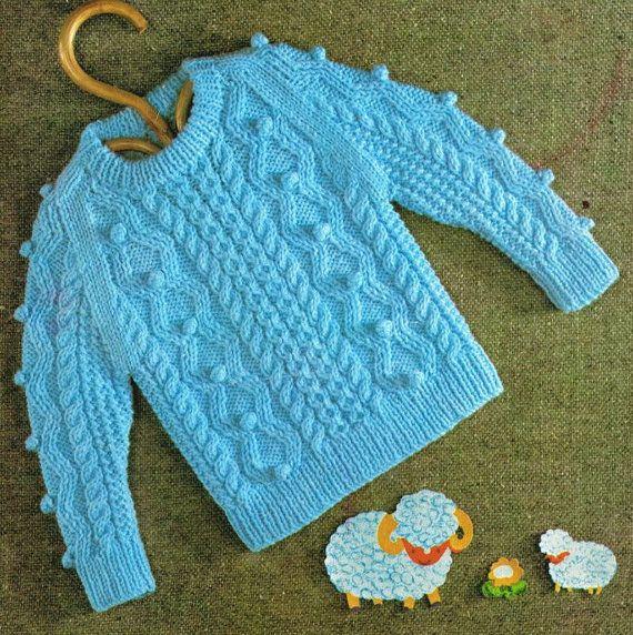 baby aran style jumper vintage knitting pattern PDF by Ellisadine