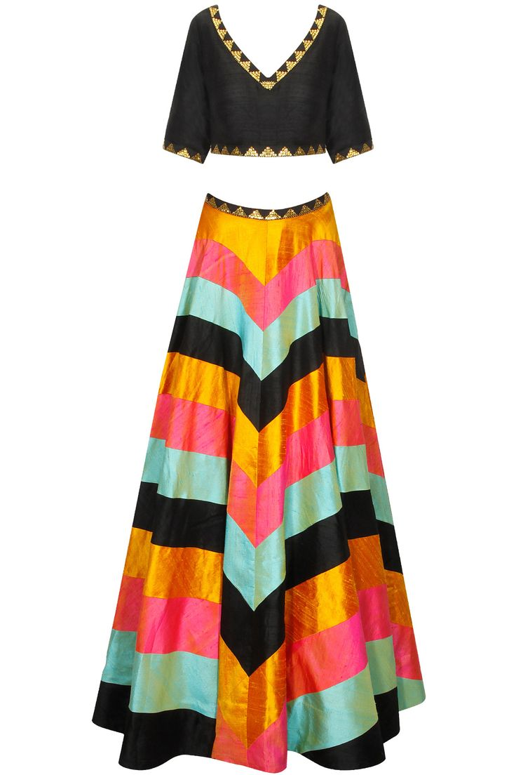 Black, yellow, pink and mint zig zag lines sequins lehenga set available only at Pernia's Pop-Up Shop.