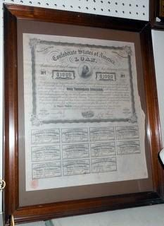 Confederate States of America 1000.00 CIVIL WAR BOND, Matted and Framed-A Piece of American History by VintagePerformance on Etsy