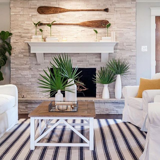 Nautical stripes and plants  #coastal #homeliving #everydaystyle