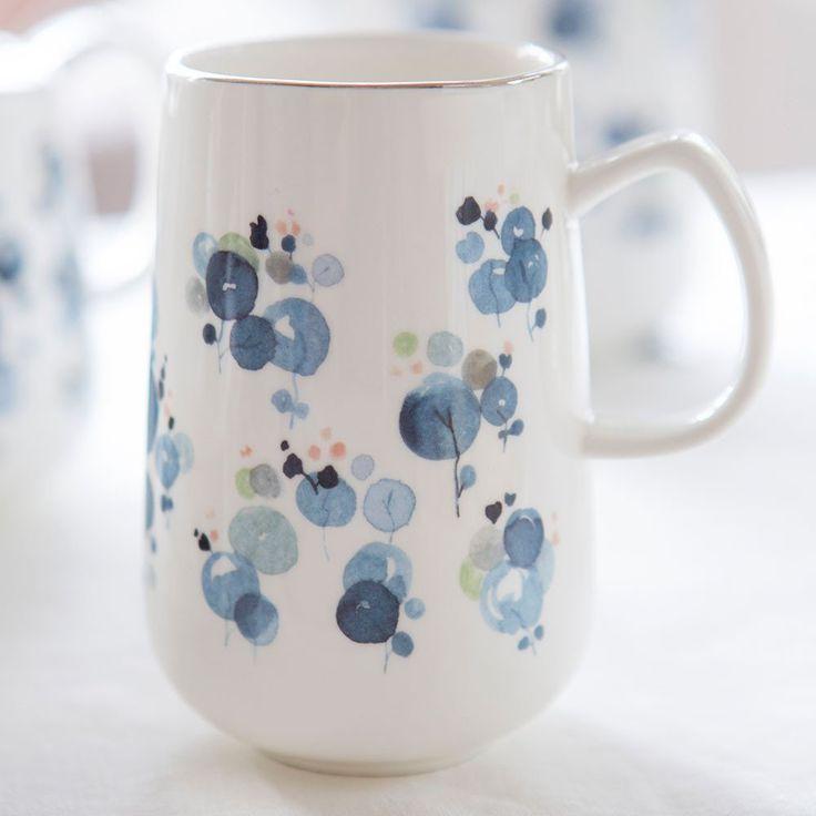 Hand painted design applied to new fine bone china - Lunaria Mug - Tara Dennis
