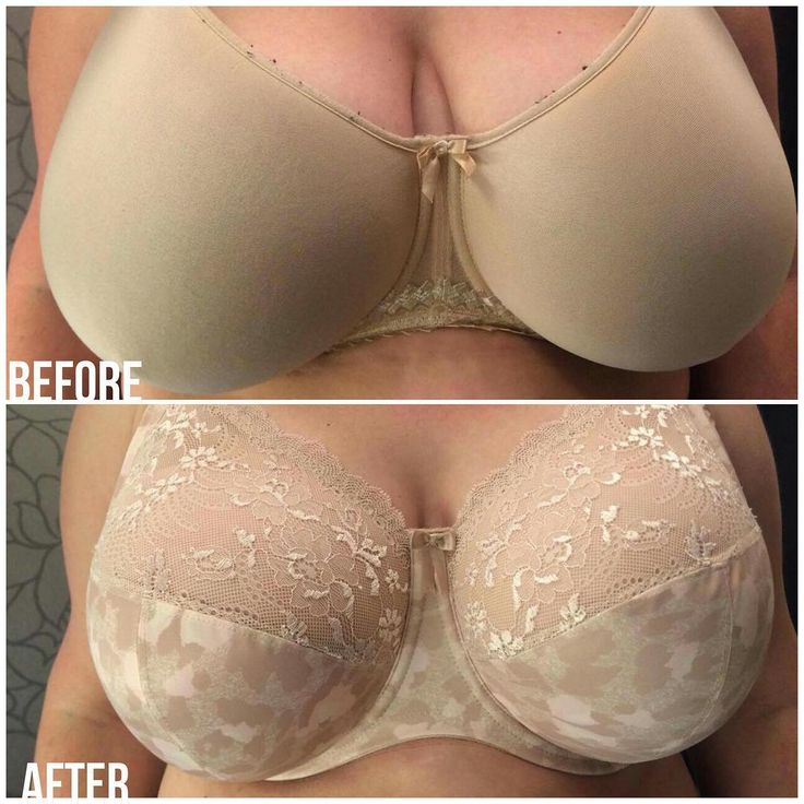 Sometimes a bra starts out great, but once it loses it's elasticity and support...it's just sad. This lovely lady opted for a style with seams for a more forward facing and lifted projection. Did you know that you almost always will get more shape and lift from a bra that is 'cut and sewn' than a seamless?! The bra in the after is the Elomi Morgan. #transformationtuesday #brafitspecialist #ourfittersareawesome