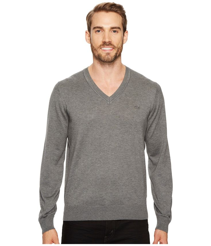 LACOSTE Cotton Jersey V-Neck Sweater. #lacoste #cloth #
