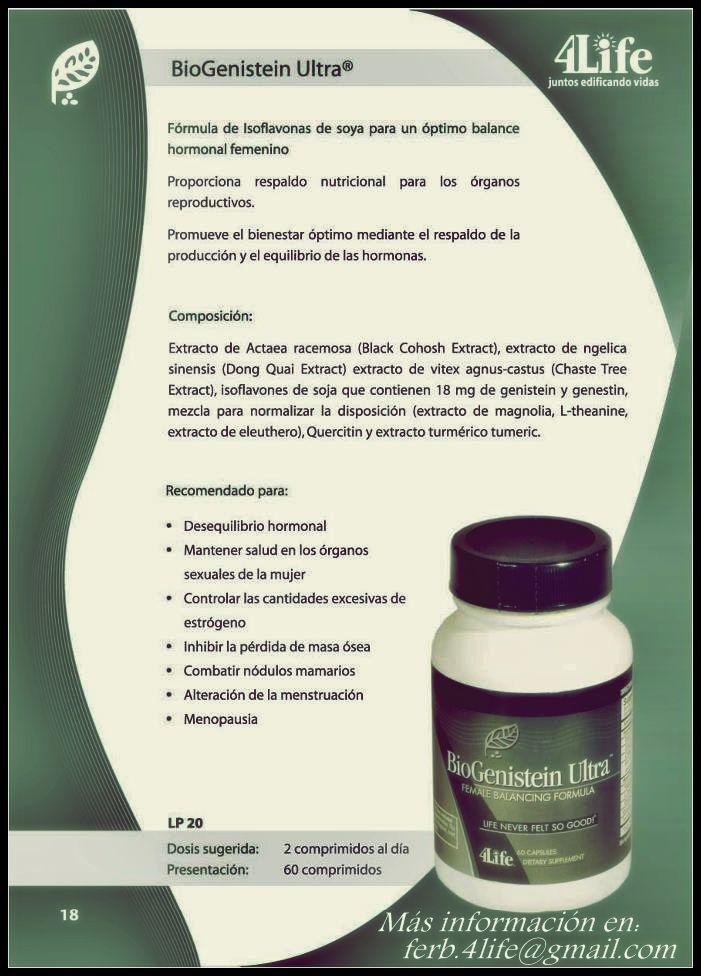 BioGenistein Ultra de 4Life® está formulado para brindar un respaldo hormonal completo para las mujeres de todas las edades. Este producto incluye flanovoindes naturales provenientes de la soya y otros ingredientes para promover niveles de hormonas saludables, un balance del sistema femenino saludable y un estado de ánimo positivo, todo con la fuerza antioxidante adicional.