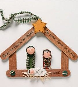 Popsicle stick crafts diy nativity ornament christmas for Country woman magazine crafts