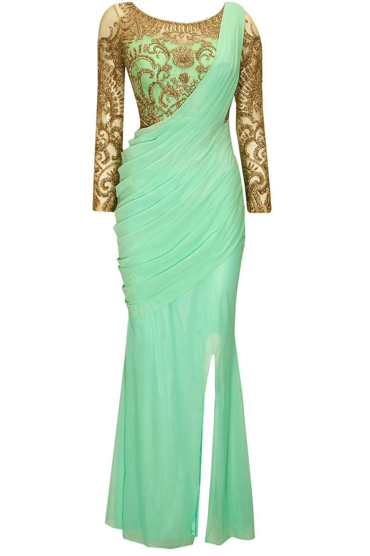 Aqua silver bead embroidered slit sari available only at