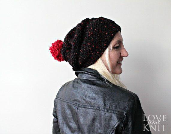 pom pom beanie black slouchy hat knit pompom hat by LoveandKnit