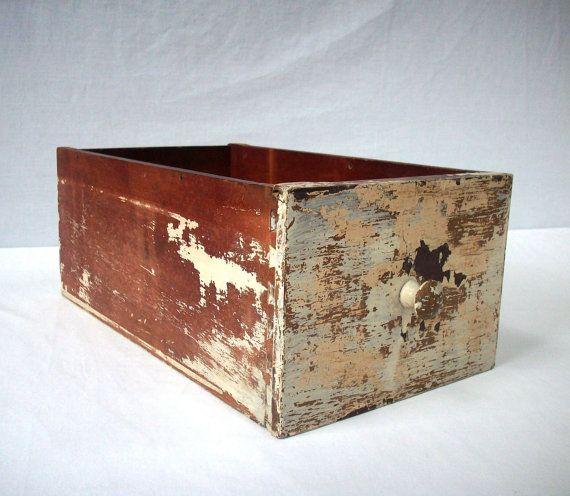 Vintage Painted Wood Drawer / Distressed by urgestudio on Etsy, $39.00