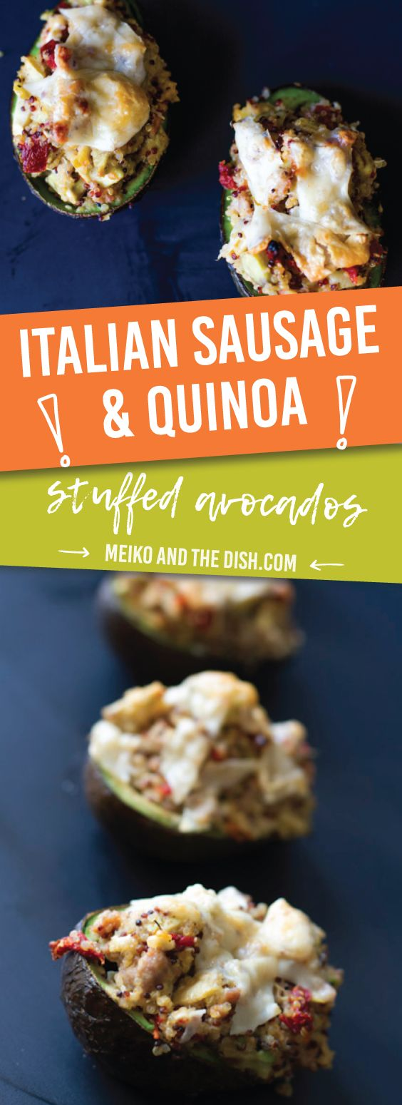 Italian Sausage & Quinoa Stuffed Avocados - Bold Mediterranean flavors from Italian chicken sausage, quinoa, roasted red peppers feta and parmesan cheese. Enjoy this light and filling recipe. Via MeikoAndTheDish.com