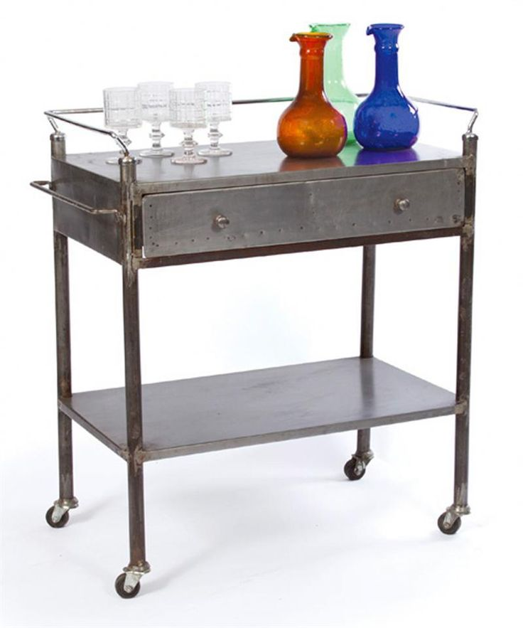 Bar Carts , 10 Stunning Metal Bar Cart Image Inspirations : Charming Industrial Vintage Steel Trolley Bar Cart Image Ideas
