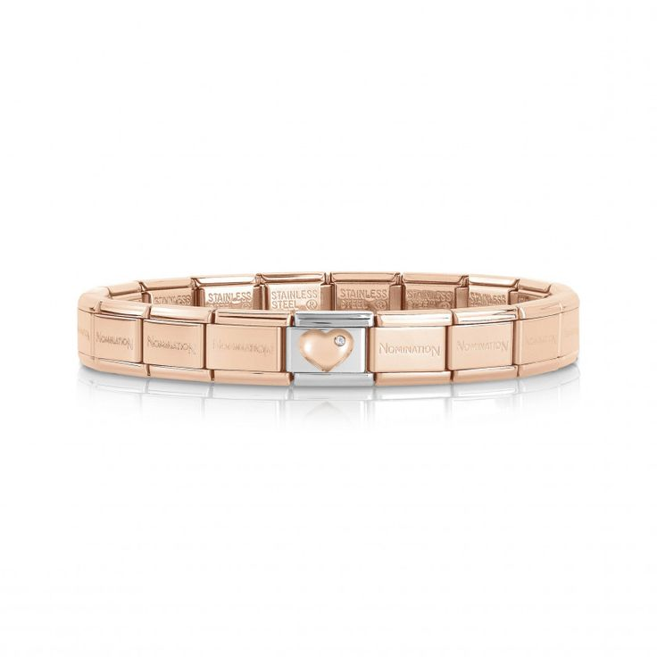 Composable Classic Bracelet with raised Love Link | Nomination Italy #nominationitaly #composable #rosegold #bracelet