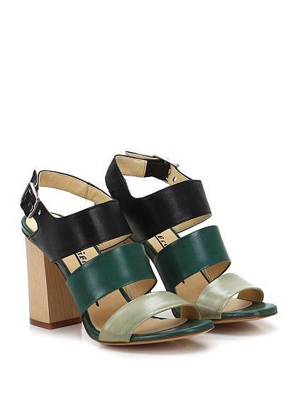 Fiori Francesi - Sandalo alto - Donna - Sandalo alto in pelle con cinturino su collo piede e suola in cuoio. Tacco 100. - NERO\VERDE