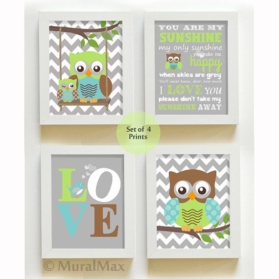 You are my sunshine - Nursery Decor - Owl Nursery Art - Love - Baby Boy Room Decor - Print set on Etsy, $48.00
