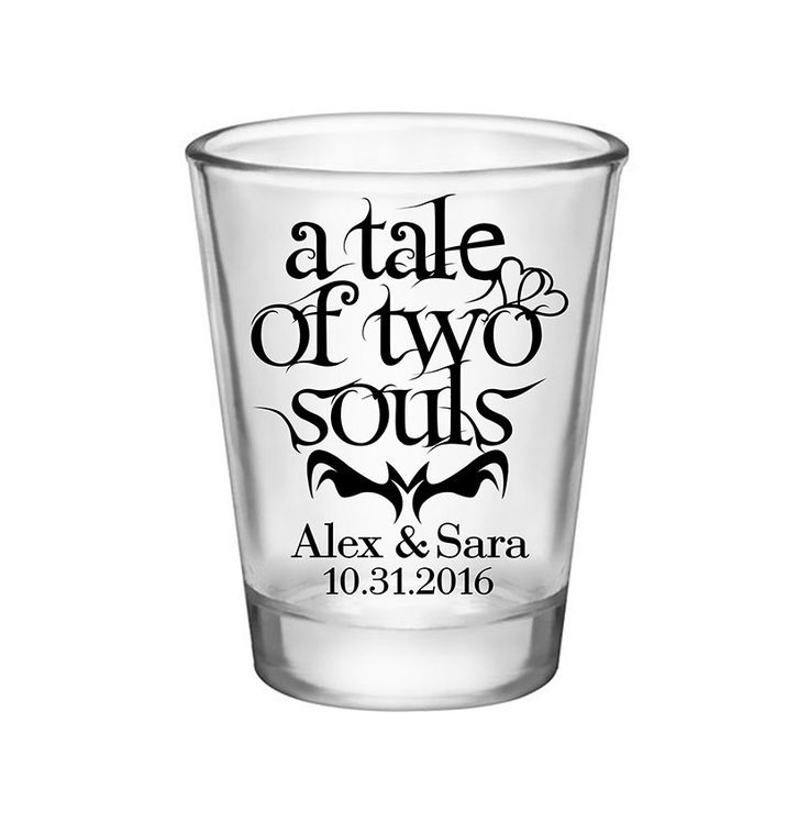 "100x Personalized Shot Glasses Halloween Wedding Favors | 1.75 oz Clear | A Tale Of Two Souls (1A) | Choose Imprint Color |by ""ThatWedShop"" on Etsy 