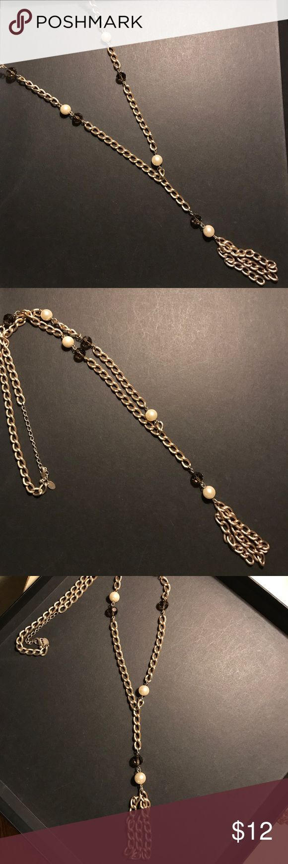 Lia Sophia necklace Lia Sophia necklace. Gold long chain with pearls. Brand new never worn Lia Sophia Jewelry Necklaces