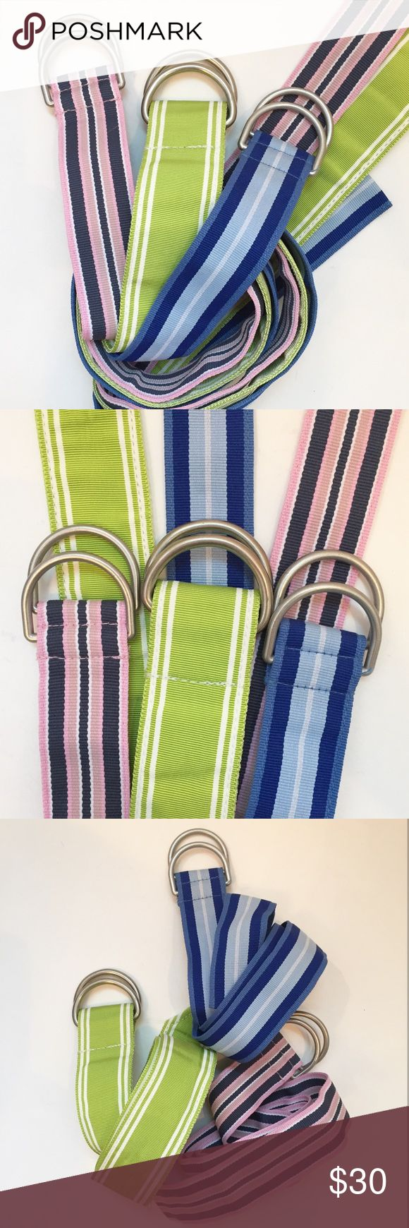 "Like new! L.L. Bean D-Ring Belts Like new! L.L. Bean D-Ring Belts...bundle of grosgrain ribbon belts...a preppy wardrobe staple...pink/navy/white size S/M 39"" length, 1.25"" width...lime/white size M 40"" length, 1.5"" width...navy/marine/sky/white size S/M 39"" length, 1.25"" width. Excellent, like new condition. Retail $90 L.L. Bean Accessories Belts"