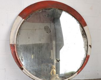 [4015] . large round convex vintage Czech traffic mirror