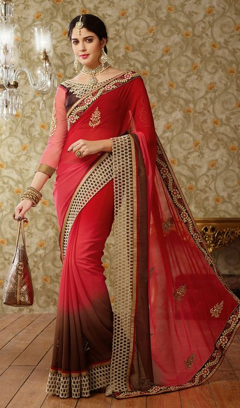 Red and Brown Shade Georgette Saree Price: Usa Dollar $116, British UK Pound £68, Euro86, Canada CA$126 , Indian Rs6264.