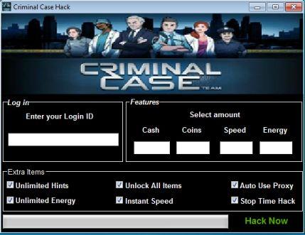 Criminal Case Hack v.2.5 est un logiciel qui vous permettra de débloquer des fonctions payantes sur le jeux Criminal Case en effets vous aurez le pouvoir d'avoir tous ce que vous voulez sur ce jeux et ainsi compléter plus rapidement ce jeux d'enquête sur Facebook, criminal case est un jeux de détective et de intelligence.