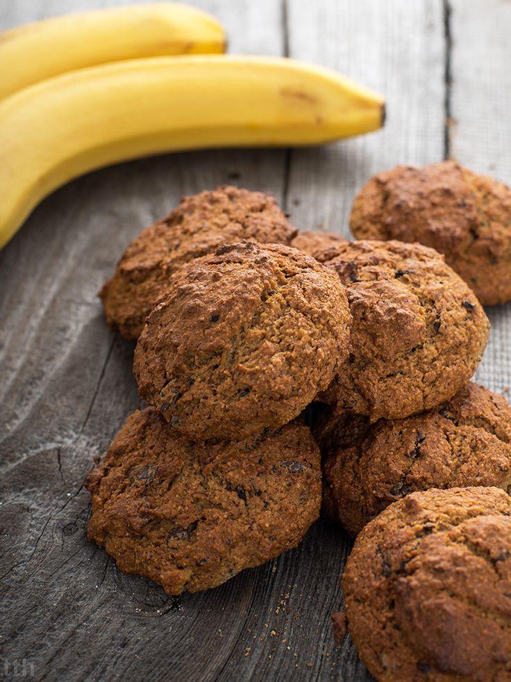 Ciasteczka bananowe z maslem orzechowym i gorzka czekolada - przepis weganskie, bezglutenowe, bez cukru