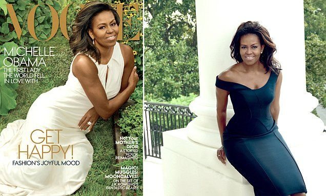 The 52-year-old First Lady is the epitome of elegance in a white Carolina Herrera dress on the cover of the magazine's December issue.