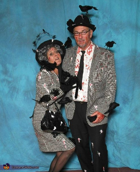 """Great guide to all the DIY Halloween costumes imaginable. Here, Alfred Hitchcock's """"The Birds"""" Halloween couple's costume."""
