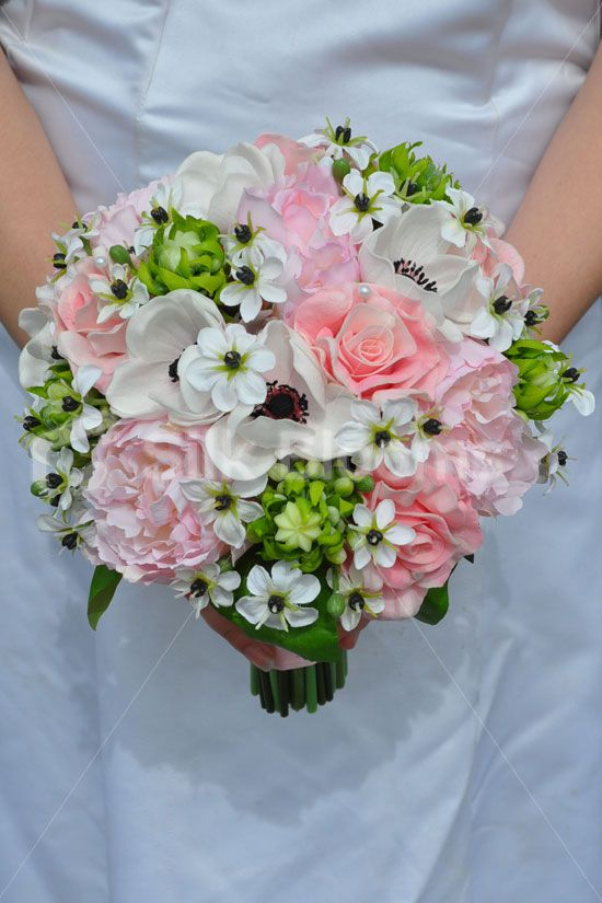 Harper - Bride Artificial Pale Pink Peony and Anemone Bridal Bouquet w/ Ornithogalum Flowers