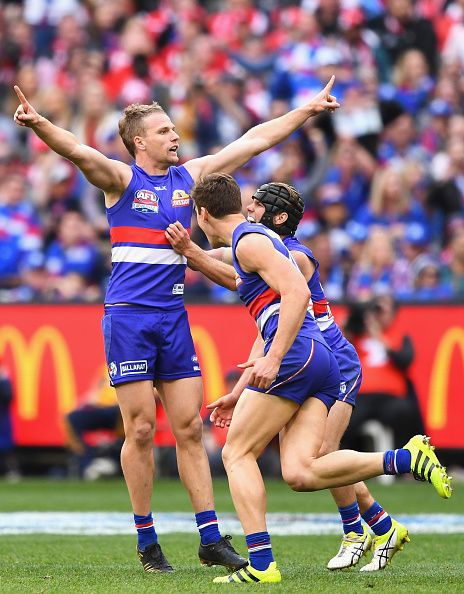 Jake Stringer of the Bulldogs celebrates kicking a goalduring the 2016 AFL Grand Final match between the Sydney Swans and the Western Bulldogs at...