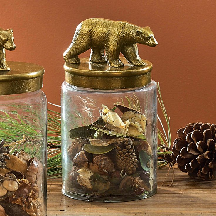 Rustic Bear Glass Canister - Small