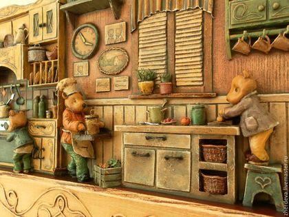 Купить или заказать 'Мишкина кухня' папье-маше, дерево в интернет-магазине на Ярмарке Мастеров. Бытовые сценки из мягколапой жизни. Интерьер в миниатюре, склеен из бумаги в технике папье-маше. Размер самых мелких элементов около 1-2 мм. Роспись художественной темперой. С обратной стороны металлические подвесы для крепления на стену.…