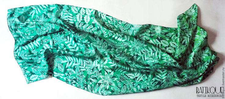 """Купить Палантин батик """"В зарослях леса"""" - зеленый, рисунок, лес, изумрудный, изумрудно-зеленый, batik painted silk hand-painted"""