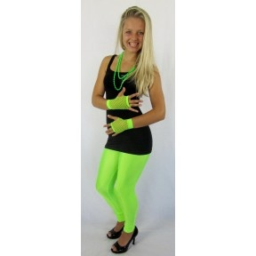 Fluro Green Leggings Tights Pants For 80s \u0026 90s Retro Neon Dance Party  Australian Olympics Costume
