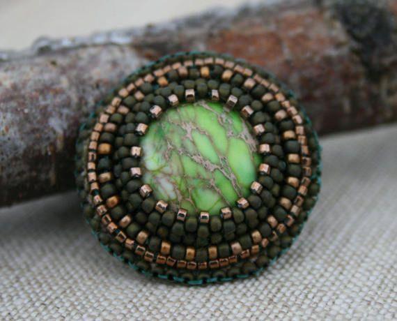 GREEN ring brown RING JASPER ring embroidered by koralikowyraj, #greenring, #jasperring, #beadetring, #koralikowyraj