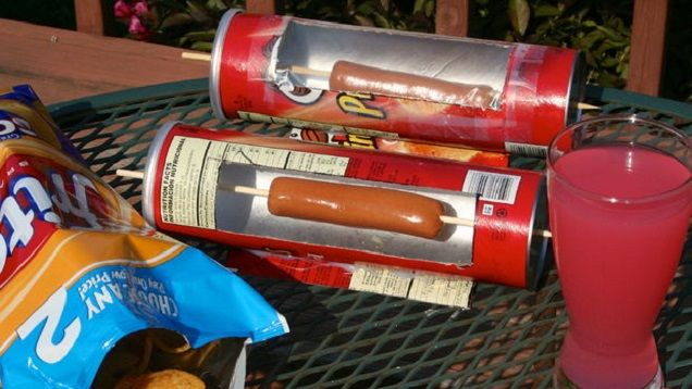 Camping hack for fire bans: Cook Hot Dogs with a Pringles Can