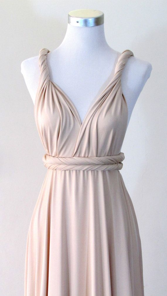 FREE BANDEAU Convertible Maxi Dress in Champagne Infinity Dress Multiway Dress Cream eggshell white light Full length Wrap dress on Etsy, $49.44 CAD