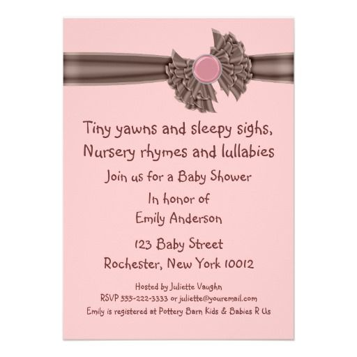 Pink And Brown Baby Shower Invitations