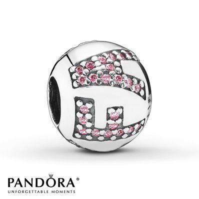 """Pink cubic zirconias spell the word """"Faith"""" to surround the center of this sterling silver charm from the Pandora Autumn 2014 collection. Style # 791417PCZ."""