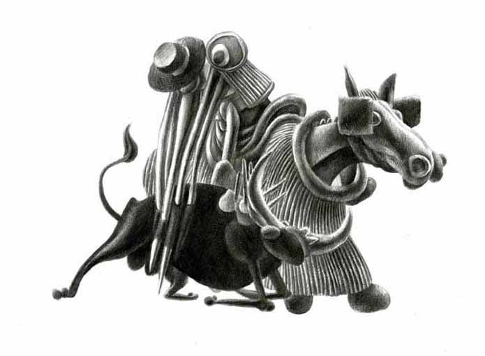 Picando / Lancing the bull, Grafite su carta / Lápiz Blanco y Negro sobre papel / Graphite pencil on paper, 36.5 x 30 cm, 2013.