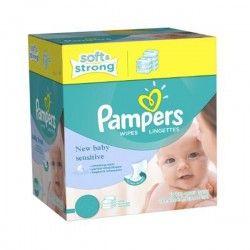 Maxi Pack d'une quantité de 528 Lingettes Bébés Pampers New Baby Sensitive - 66 Packs de 8 sur Couches Zone