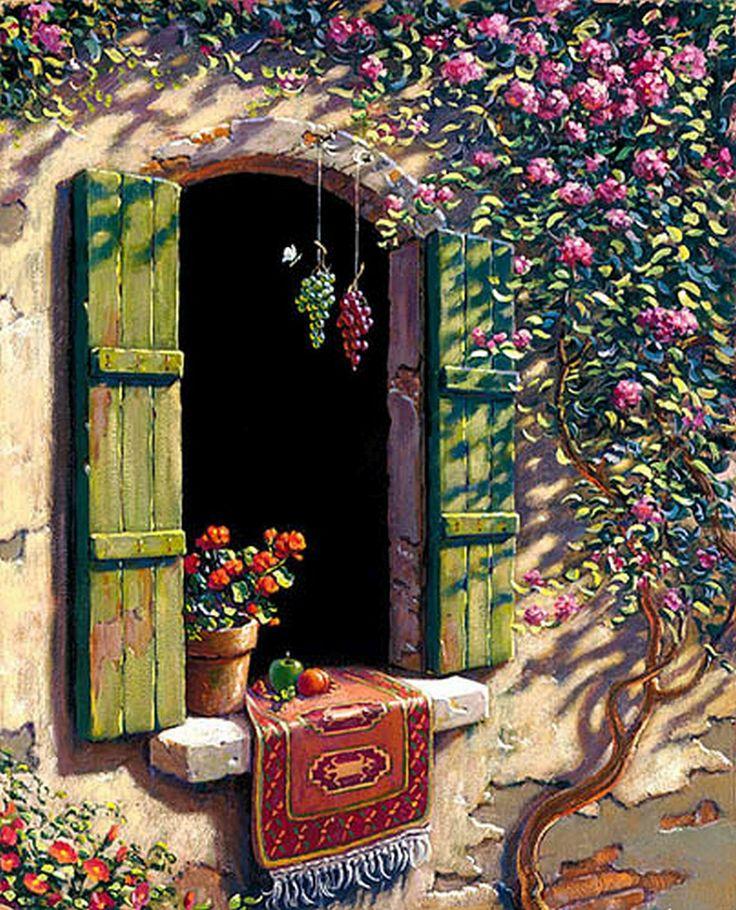 """Tuscany Window"" Artist: Bob Pejman @@@¡¡¡¡¡¡€.....http://www.pinterest.com/nezahatmelike/kap%C4%B1lar%2Bpencereler/   €€€€€€€€€€€€€€€€€€€€€€€€€€€€€€€€€"