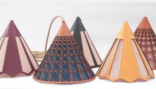 Suspension cuir et papier, de Alexandre Epée - Lulé Studio