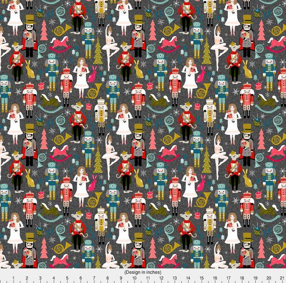 1 yard (or 1 fat quarter) of nutcrackers // nutcracker ballet xmas holiday christmas fabric christmas design by andrea lauren. Printed on Organic Cotton Knit, Linen Cotton Canvas, Organic Cotton Sateen, Kona Cotton, Basic Cotton Ultra, Cotton Poplin, Minky, Fleece, or Satin fabric.  Available in yards and quarter yards (fat quarter). This fabric is digitally printed on demand as orders are placed. Unlike conventional textile manufacturing, very little waste of fabric, ink, water or ...