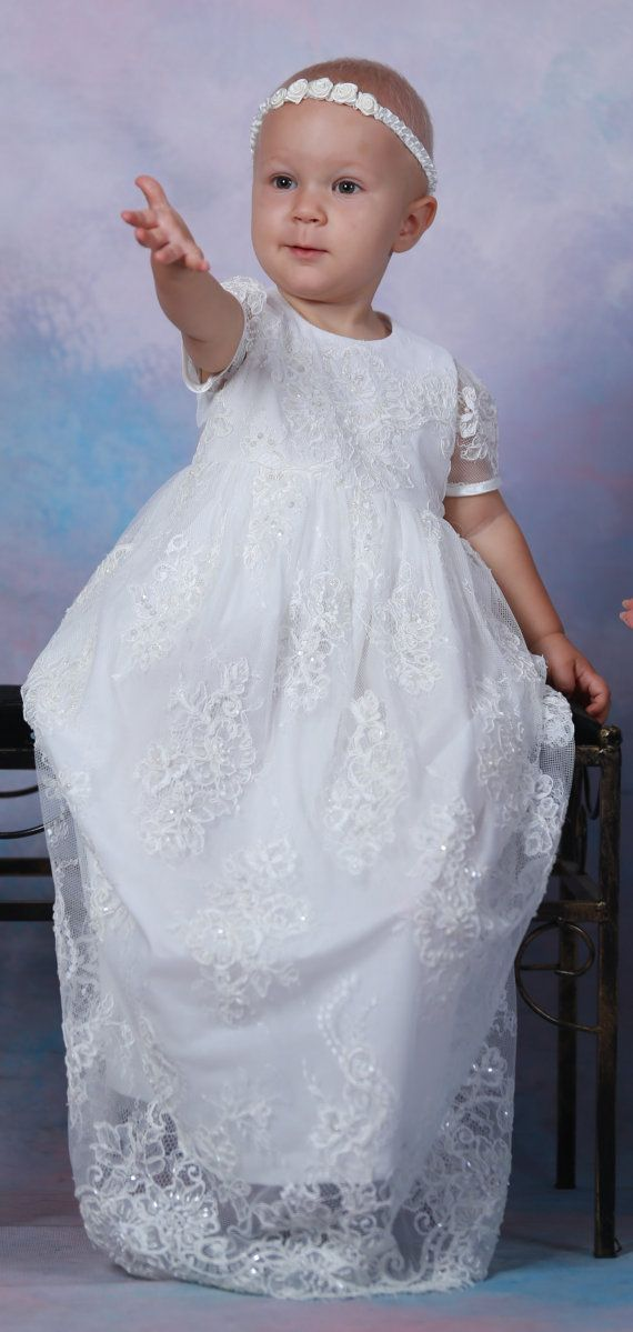 CECILY Christening Gown Lace Baptism Gown lace with beads