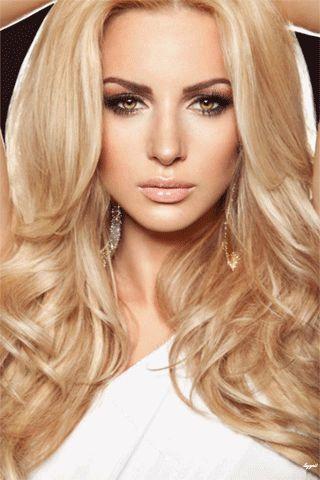 Анимация Блондинка с длинными волосами и карими глазами, гифка Блондинка с длинными волосами и карими глазами